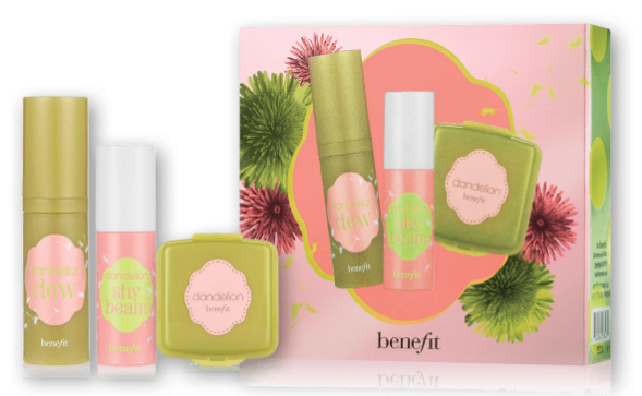 dandelion brightening finishing powder fun size mini | 3.0 g Net wt. 0.1 oz. • dandelion dew liquid blush fun size mini | 5.0 mL / 0.16 US fl. oz. • dandelion shy beam liquid highlighter fun size mini | 2.5 mL / 0.08 US fl. oz.